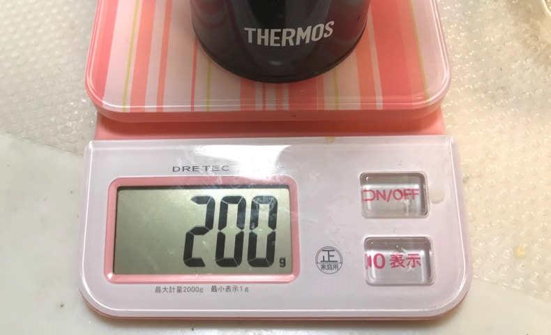 タンブラーの重さは200g